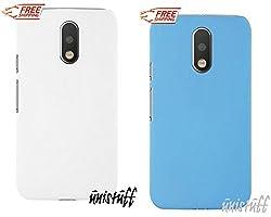 "For Motorola Moto G 4th Gen Plus [COMBO OFFER]: Unistuffâ""¢ Matte Finish Hard Shell Ultra Thin Bumper Back Case Cover for Motorola Moto G 4th Gen / Moto G4 / Moto G Plus, 4th Gen / Moto G4 Plus (White, Sky Blue)"