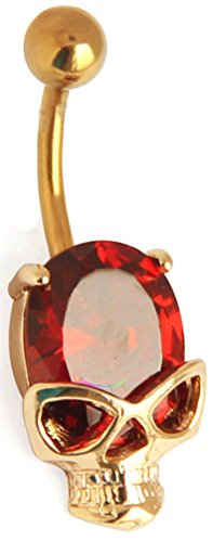 buy Thenice Women'S Crystal Gold 14 Gauge Red Skull Navel Rings Nails Stud Body Piercing