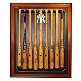 New York Yankees NY Logo Removable Face 9 Bat Display, Brown by Biggsports