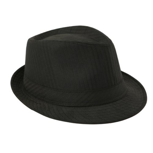 58cm Black PinStripe Trilby Hat with Black Ribbon
