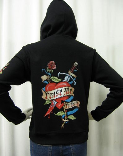 Buy Women's Tease Me to Death Skull and Roses Tattoo Zip up Hoodie