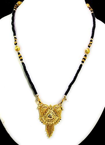 Black Beaded Pendant Gold Plated Indian Designer Traditional Mangalsutra Necklace
