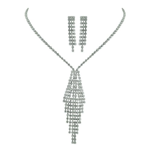 Brass Rhodium 13 inches + 3 Inches extensions Necklace Earrings Colorless Crystal Soft Link Raindrop