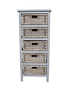 5 Drawer Grey Kubu Storage Rack / Rattan Storage Unit