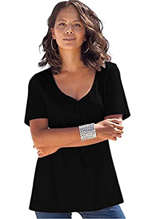 Roamans Women's Plus Size Ultimate Sweetheart Neck Tee (Black,M)