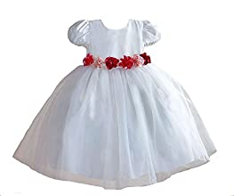 Girls Short Sleeve Party Princess Dresses with Rose Belt