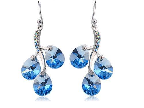 Swarovski Sapphire Light Blue Crystal Rhinestone Aquamarine Vine Cluster Earring