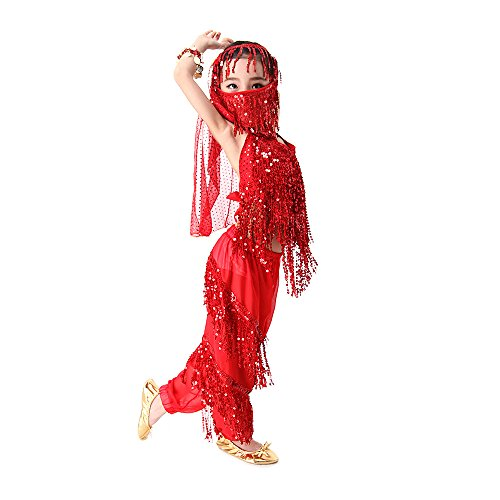 Befamous Kid's Belly Dance Harem Pants, Halloween Costume Set Indian Dance Dress Set