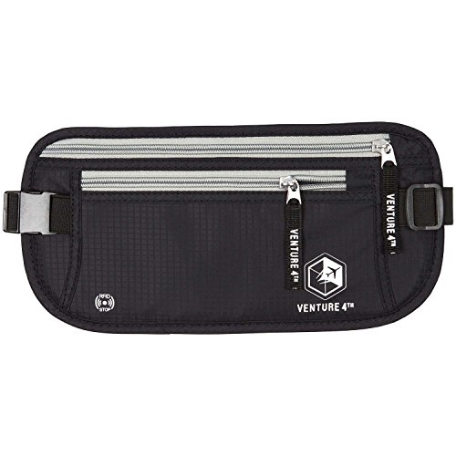 Venture 4th RFID Money Belt Protect Yourself From Travel Theft Comfortable Durable and Lightweight (Black) (Aj Money Belt compare prices)