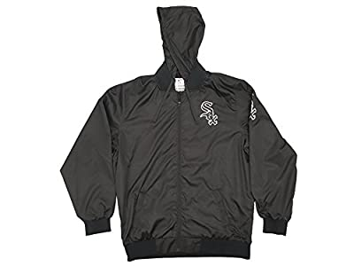 JH Designs Chicago White Sox Black Hooded Track Jacket
