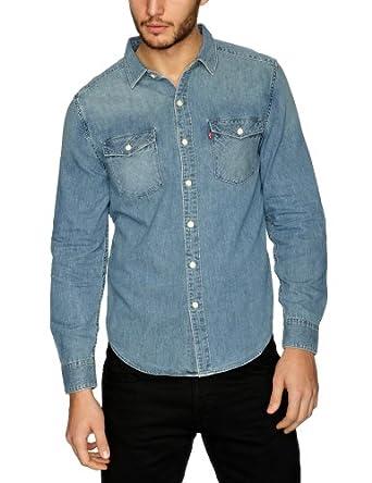 Levi 39 s chemise en jeans homme bleu stonewash denim for Bureau en gros levis