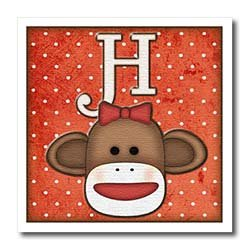 Dooni Designs Monogram Initial Designs - Cute Sock Monkey Girl Initial Letter H - Iron on Heat Transfers