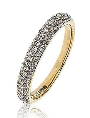 0.40CT Certified G/VS2 Round Brilliant Cut Pave Half Eternity Diamond Ring in 18K Yellow Gold