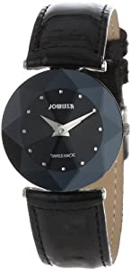 Jowissa Women's J5.181.M Facet Stainless Steel Black Genuine Leather Watch