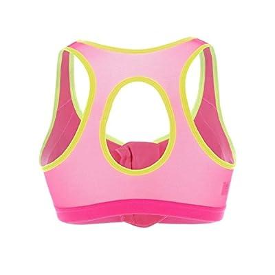 Women's Front Zipped Sports Bra Quick Dry Running Bra(38D, Pink/Green) by Kylin Express