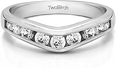 Silver Chevron Inspired Classic Contour Wedding Band with White Sapphire 042 ct twt
