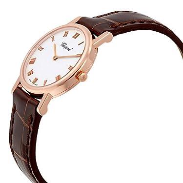 Chopard Classic White Dial 18kt Rose Gold Case Black Alligator Strap Ladies Watch 127387-5001