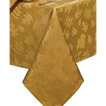 Autumn Leaves Tablecloth and 4 Napkins Gold 52x70