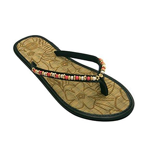 Picina infradito o spiaggia donna per mettere il dito pellet di paglia pianta sulla striscia Gioseppo nero taille 38