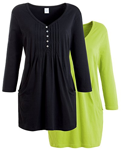 Pack of 2 Tunics Black/Bright Lime 14