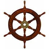 "15"" Wooden Ship Wheel: Nautical Boat Decoration"