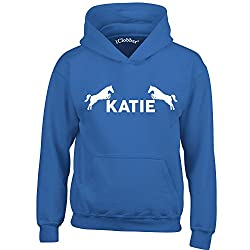 iClobber Horse Riding Hoodie for Girls Boys Kids Personalised with Your Name or Club Name Horses Design