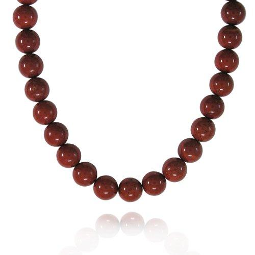 10mm Plain Round Red Jasper Bead Necklace, 18+2