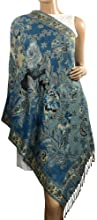 Rayon Metallic Paisley Flower Garden Two-Sided Reversible Scarf - Teal Blue
