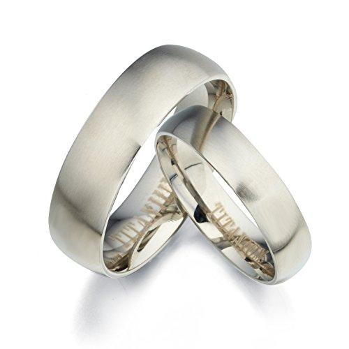 Gemini Groom & Bride Plain Matte & Polish Anniversary Titanium Wedding Rings Set Width 7Mm & 5Mm Men Ring Size : 15.5 Women Ring Size : 10.5