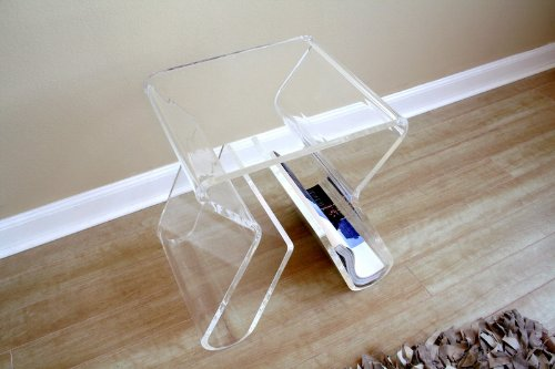 Image of Acrylic Clear End Table with Magazine Rack (FAY-8196-Clear)