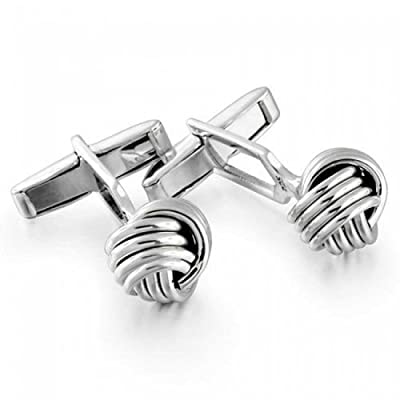 Bling Mens Sterling Silver French Love Knot Hinged Back Cufflinks