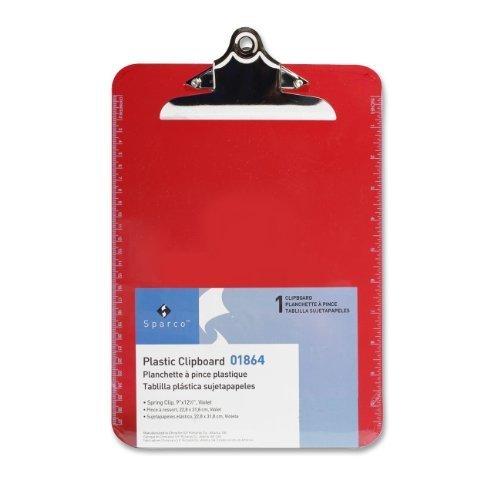 sparco-plastico-transparente-portapapeles-9-x-12-1-2-pulgadas-rojo-spr01864-pack-de-12-unidades