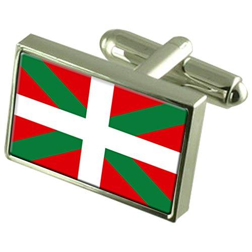 basque-Boutons-de-manchette-drapeau-avec-bote-de-souvenir-grav