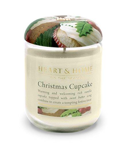 Heart & Home Large Glass Christmas Cupcake Candle