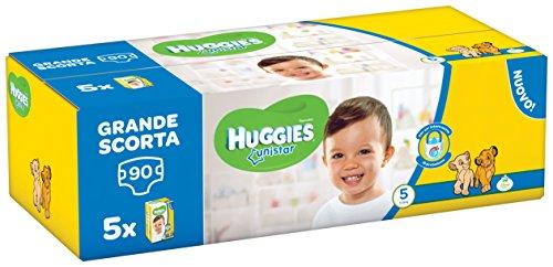 Huggies Unistar Pentabox, Taglia 5 (11-19 kg), 5 Confezioni da 18 [90 Pannolini]