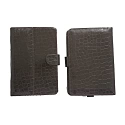 7&Seven G11 Croc Flip Flap Case Cover Pouch Carry Stand For Magicon Mpad 7 Dark Brown
