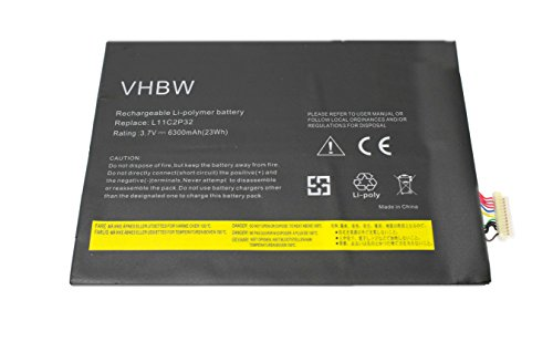 vhbw Li-Ion Batterie 6300mAh (3.7V) pour Netbook Pad Tablette Lenovo IdeaTab B6000F, S2110, S2110AF comme L11C2P31, L12D2P31.