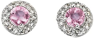 Elements Gold Ladies 9ct White Gold Diamond and Pink Sapphire Cluster Stud Earrings