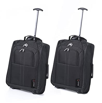 Set of 2 50cm 5 Cities Cabin Hand Luggage Lightweight Trolley Bags, 33L