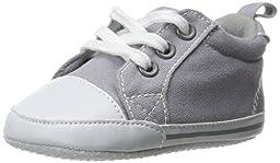 Luvable Friends Basic Solid Color Canvas Sneaker (Infant), Gray, 0-6 Months M US Infant