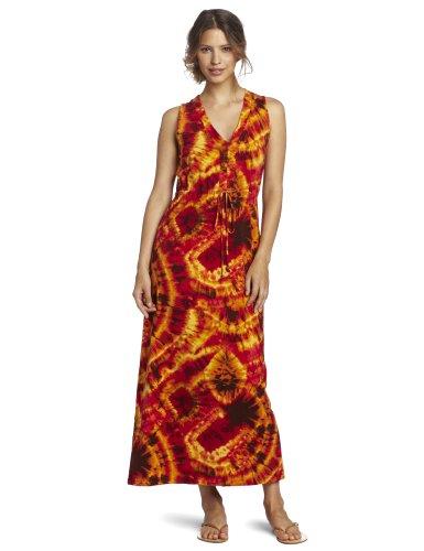 Jones New York Women's Sleeveless Drawcord Waist Maxi Dress, Spice Red Combo, Small