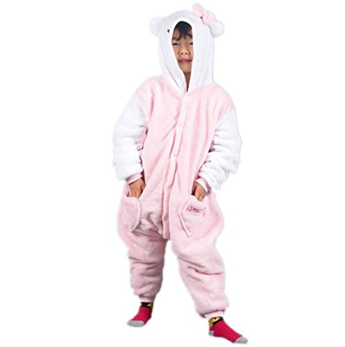 Autek Children Kid Baby Animal Unisex Onesie Fancy Dress Costume Hoodies Pajamas Sleep Wear Kitty Cat White Pink