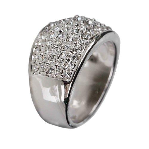 Fashion Plaza 18k White Gold Plated Use Swarovski Multi-Crystal Wedding Engagement Ring Size 6