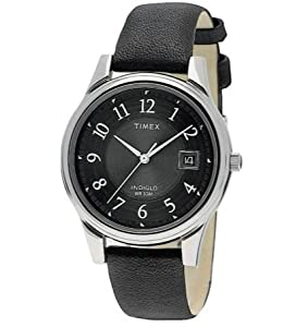 Exceedingly Comfortable Timex Men's Quartz Black Dial Leather Strap Watch