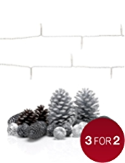Silver Pine Cone Room Decorations with 20 Battery LED Christmas Lights