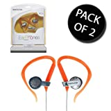 2x Memorex EC100 Sports Clip In Ear Earphone - Orange