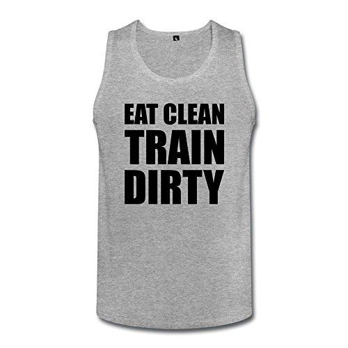 Eat Clean Train Dirty Geek Men Cotton Tank Top Heather Gray front-629403