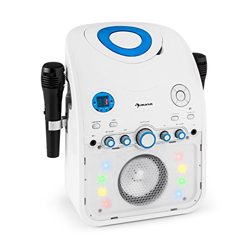 auna-StarMaker-Karaokeanlage-Kinder-Karaoke-Audiosystem-Karaoke-Maschine-2x-Mikrofon-wei