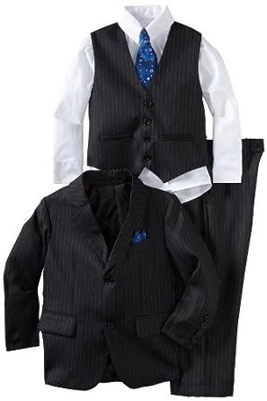 Joey Couture Little Boys' Little Pinstripe Suit, Navy Blue, 2