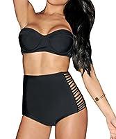 Women Sexy Retro Beach High Waist Bikini Set Vintage Padded Swimwear Swimsuit UK